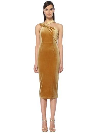 Lavısh Alıce Kadife Kokteyl Elbise Altın